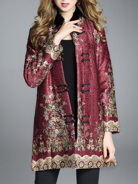 Burgundy Floral Crinkled Elegant Coat