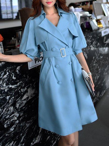 Blue Solid Lapel Elegant Trench Coat