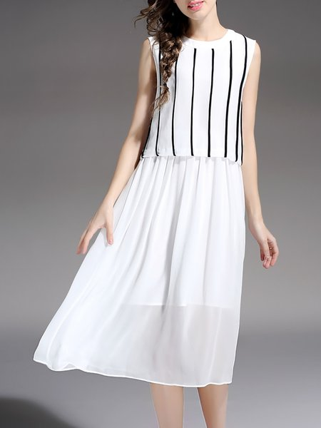 White A-line Sleeveless Paneled Silk Midi Dress