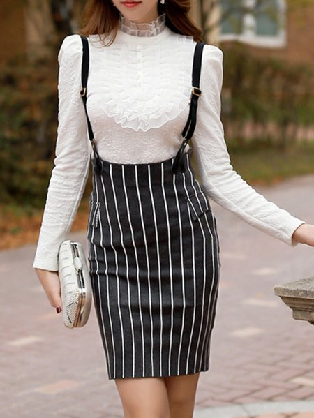 White Paneled Turtleneck Long Sleeve Long Sleeved Top