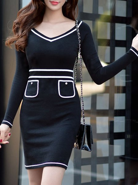 Black Sheath Sexy Sweater Dress