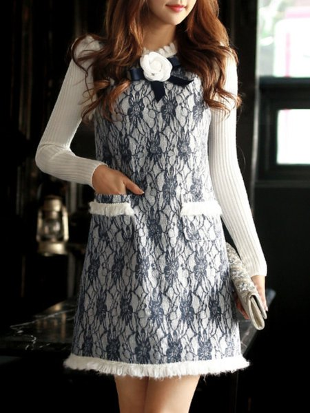 White A-line Girly Stand Collar Appliqued Mini Dress
