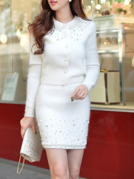 White Sheath Polyester Beaded Sweet Mini Skirt