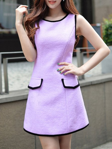 Purple Color-block Wool Blend Sleeveless A-line Mini Dress