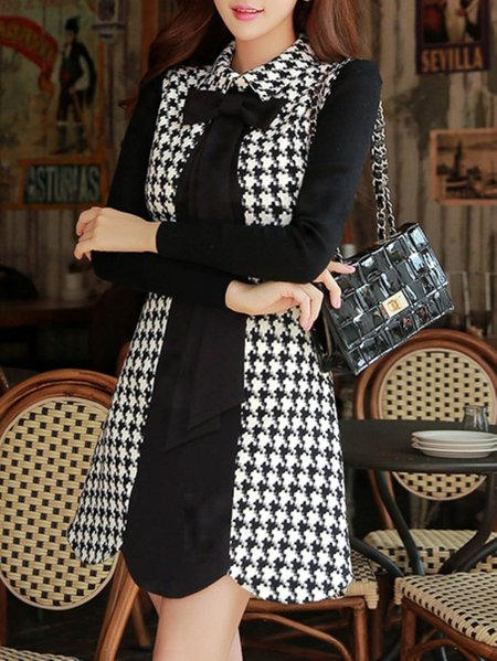 Black Long Sleeve Houndstooth A-line V Neck Mini Dress