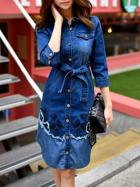 Embroidered Casual 3/4 Sleeve Shirt Collar Denim Midi Dress With Belt
