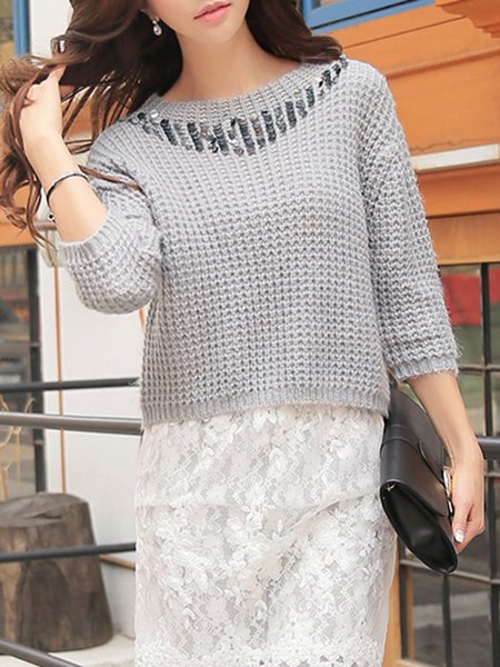 Light Gray Casual Knitted Sequins Sweater