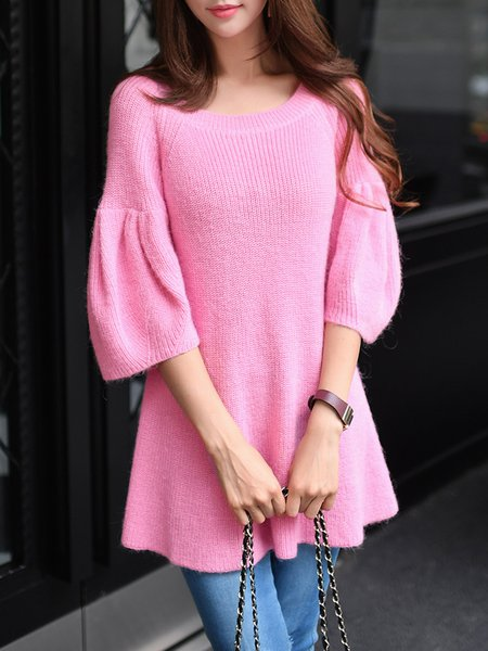 Rose Ruffled Frill Sleeve Knitted Sweater