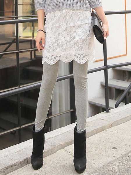 Light Gray Plain Bodycon Lace Casual Legging