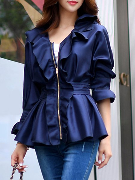Navy Blue V Neck Polyester Frill Sleeve Coat