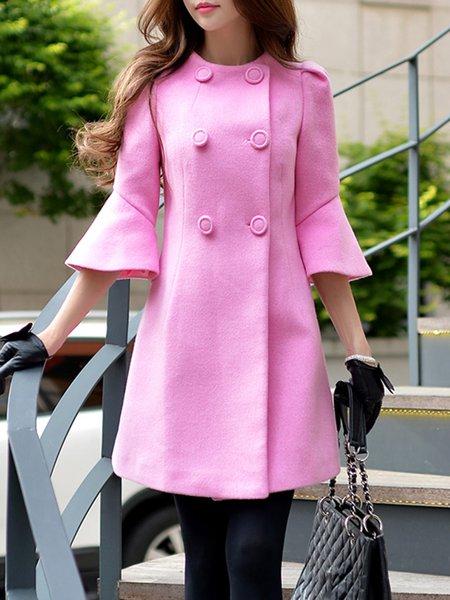 Frill Sleeve Buttoned Elegant Wool Blend Plain Coat