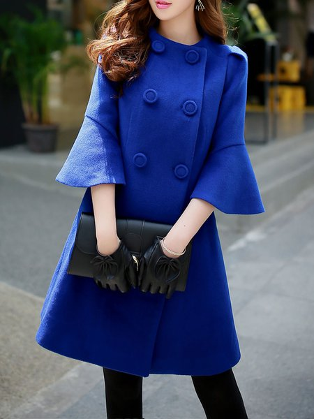Royal Blue Plain Buttoned Wool Blend Elegant Coat