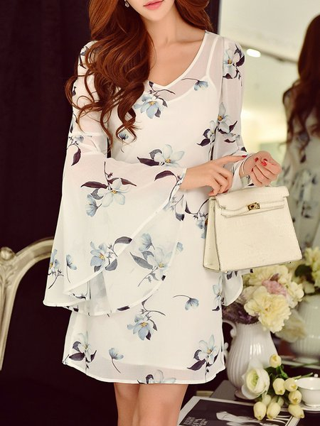 Floral Girly Balloon Sleeve Polyester Mini Dress