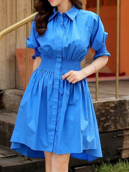 Buttoned Balloon Sleeve Cotton Casual A-line Shirt Dress