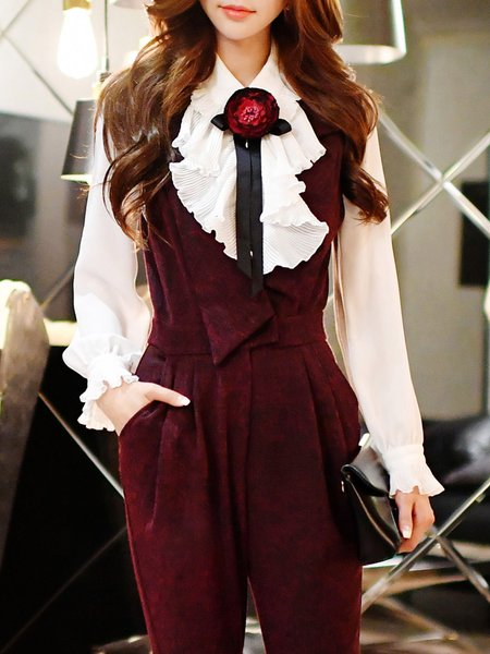 Elegant Bow Ruffled Frill Sleeve Chiffon Blouse With Brooch