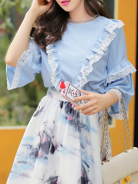 Girly Lace Paneled Ruffled Frill Sleeve Blouse