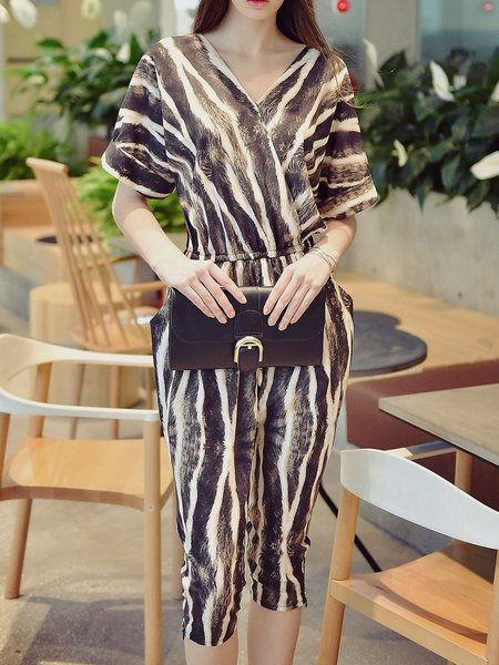 Coffee-white V Neck Zebra-print Casual Jumpsuit