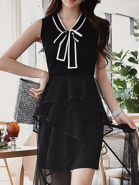 Black Knitted Stand Collar Sleeveless Top