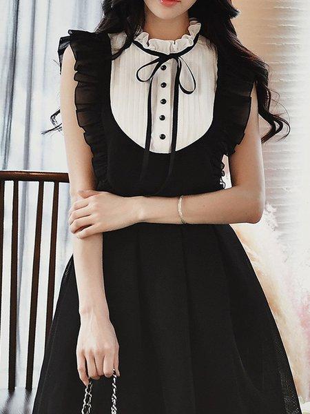 Black-white Sleeveless Ruffled Girly Sheath Tops