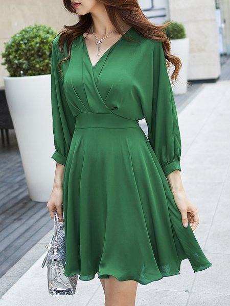 3/4 Sleeve V Neck Elegant Solid Midi Dress
