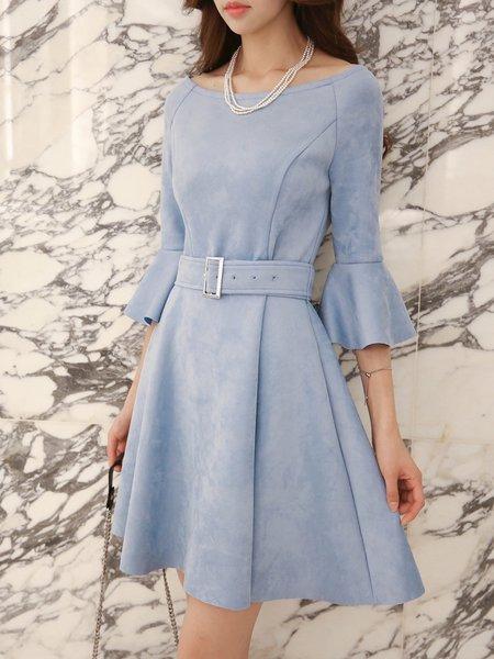 Sky Blue Bell Sleeve A-line Mini Dress