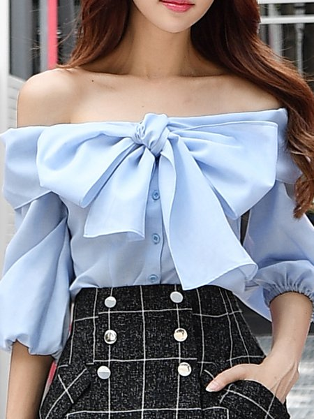 Sky Blue Girly Bow Solid Off Shoulder Top