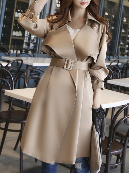 Camel Solid Long Sleeve Lapel Trench Coat