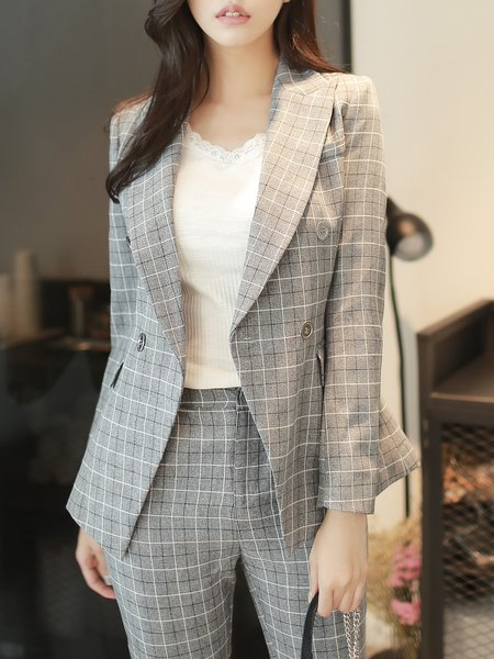 Light Gray Printed Checkered/Plaid Long Sleeve Blazer
