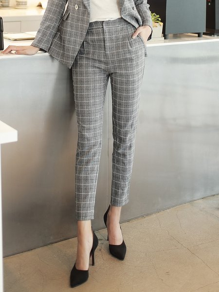 Light Gray Elegant Printed Straight Leg Pants