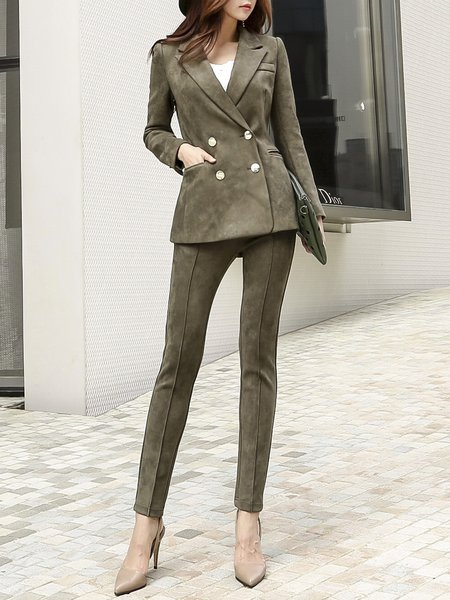 Army Green Solid Lapel Top With Pants