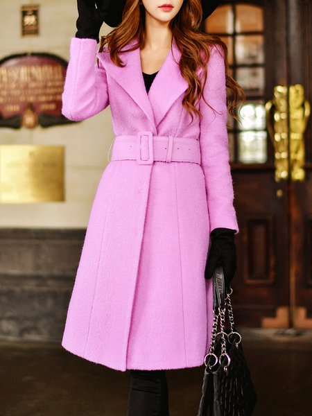 Rose Long Sleeve Solid Lapel Coat with Belt