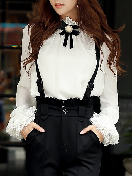 White Bow Ruffled Girly Blouse