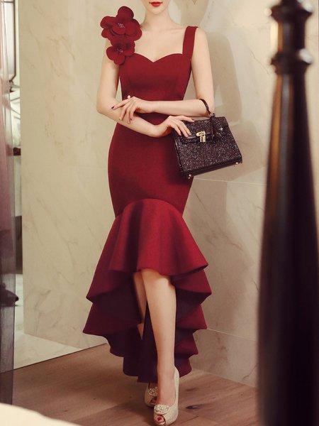 Burgundy Elegant Appliqued High Low Party Dress