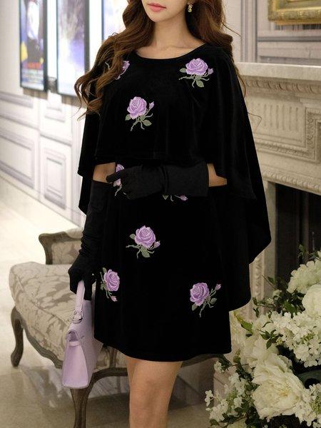 Black Paneled Floral Batwing Sheath Mini Dress
