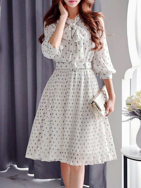 Cream Chiffon A-line Balloon Sleeve Midi Dress with Belt