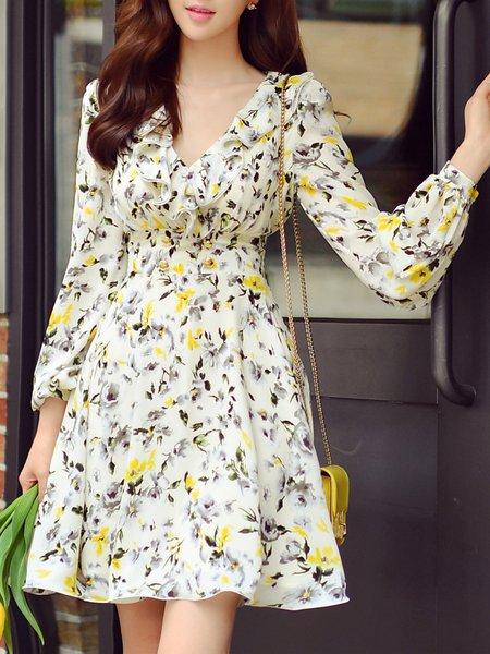 Girly V Neck Balloon Sleeve Floral Mini Dress