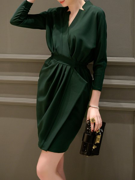 Folds Solid Elegant Stand Collar Long Sleeve Midi Dress