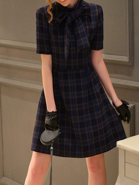 Navy Blue Elegant Checkered/Plaid Bow Midi Dress