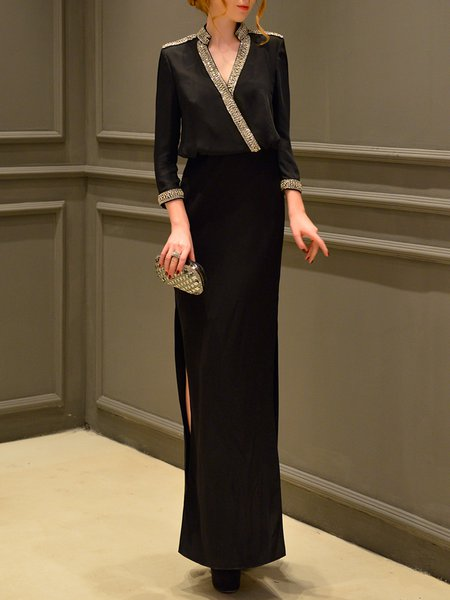 Black Solid Beaded 3/4 Sleeve Evening Dress