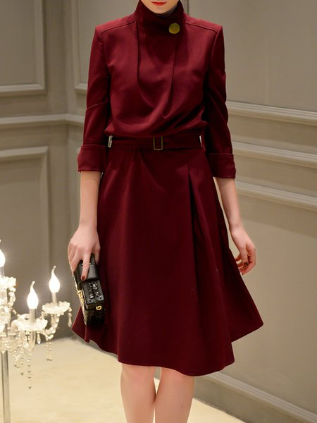 Wine Red Solid Stand Collar Bodycon Elegant Midi Dress With Belt
