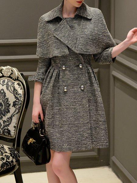 3/4 Sleeve Cotton-blend Lapel Plain Elegant Trench Coat