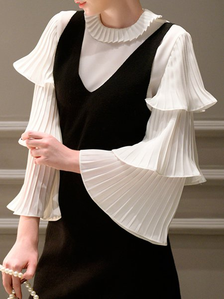 Frill Sleeve Ruffled Solid Elegant Blouse
