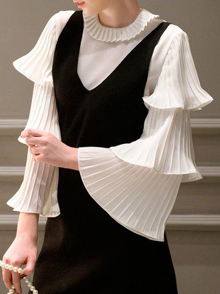 Frill Sleeve Ruffled Solid Elegant Blouse