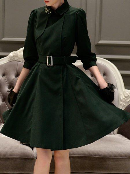 Dark Green Swing Shirt Collar 3/4 Sleeve Beaded Midi Dress With Belt