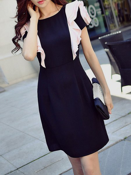 Black Ruffled Girly Midi Dress