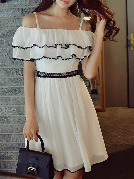Ruffled Solid Girly Spaghetti Midi Dress