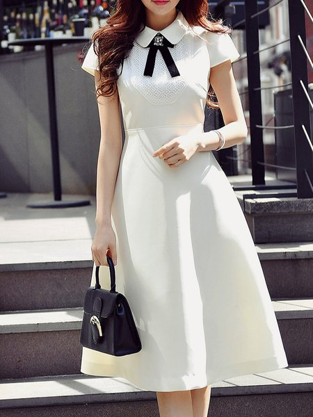 White Shirt Collar Short Sleeve Solid Midi Dress