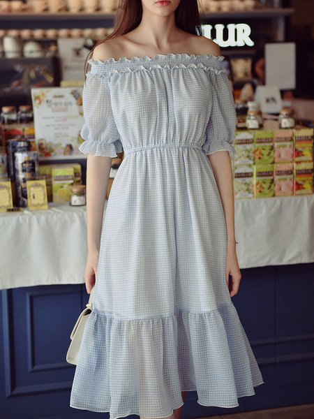 Light Blue Girly Ruffled A-line Midi Dress