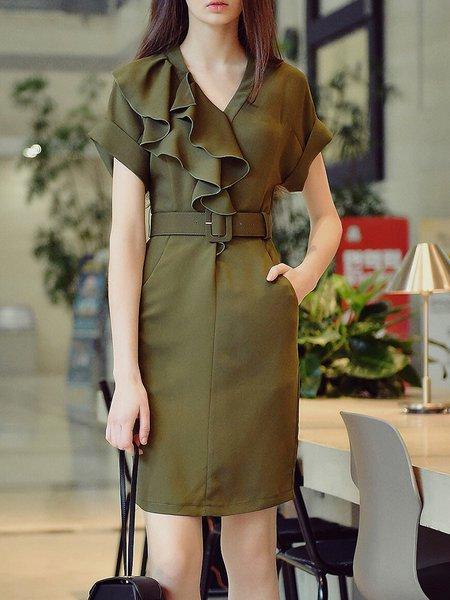 Army Green Ruffled Bodycon Shorts Sleeve Midi Dress