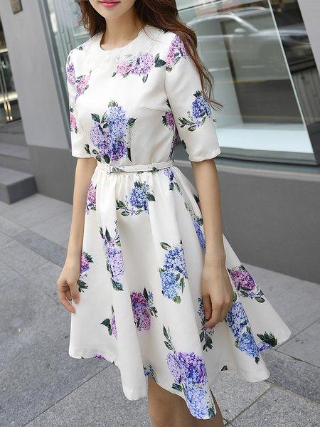 Beige Floral Girly  Midi Dress